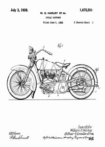 harley davidson motocycle patent print, harley davidson poster in the style white