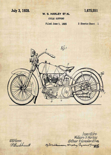 harley davidson motocycle patent print, harley davidson poster in the style vintage