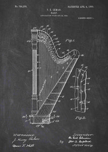 harp patent print, harp poster shown in the style chalkboard