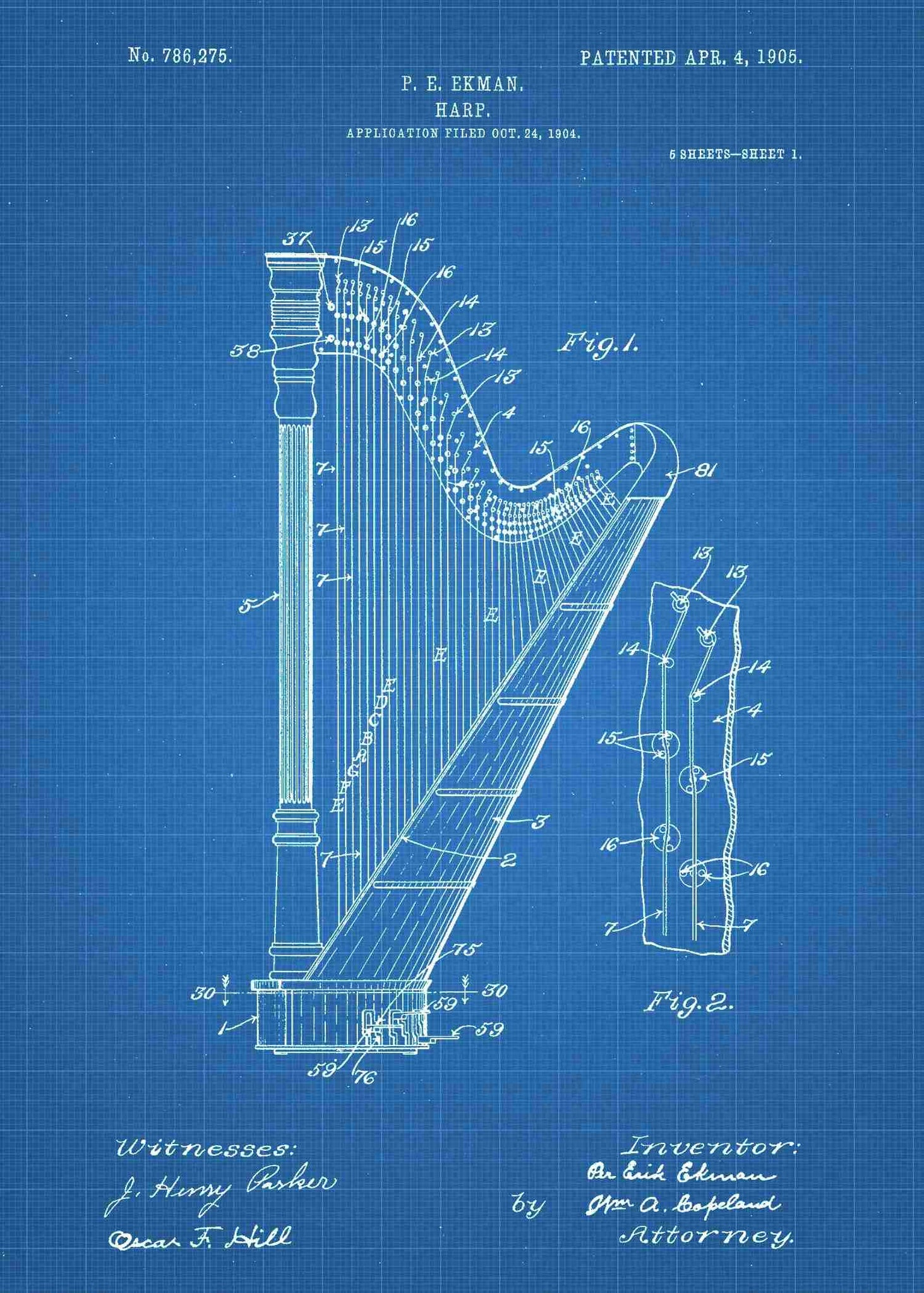 Details about  /1897 Harp Patent Print Art Drawing Poster
