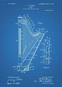 harp patent print, harp poster shown in the style blueprint