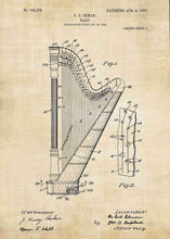 harp patent print, harp poster shown in the style vintage