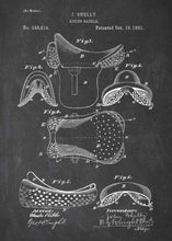 horse riding saddle patent print, horse riding poster in the style chalkboard