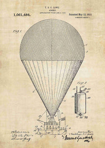 hot air balloon patent print, hot air balloon poster in the style vintage