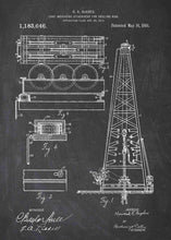 howard hughes oil drilling rig patent print, oil rig poster shown in the style chalkboard