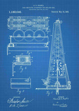 howard hughes oil drilling rig patent print, oil rig poster shown in the style blueprint