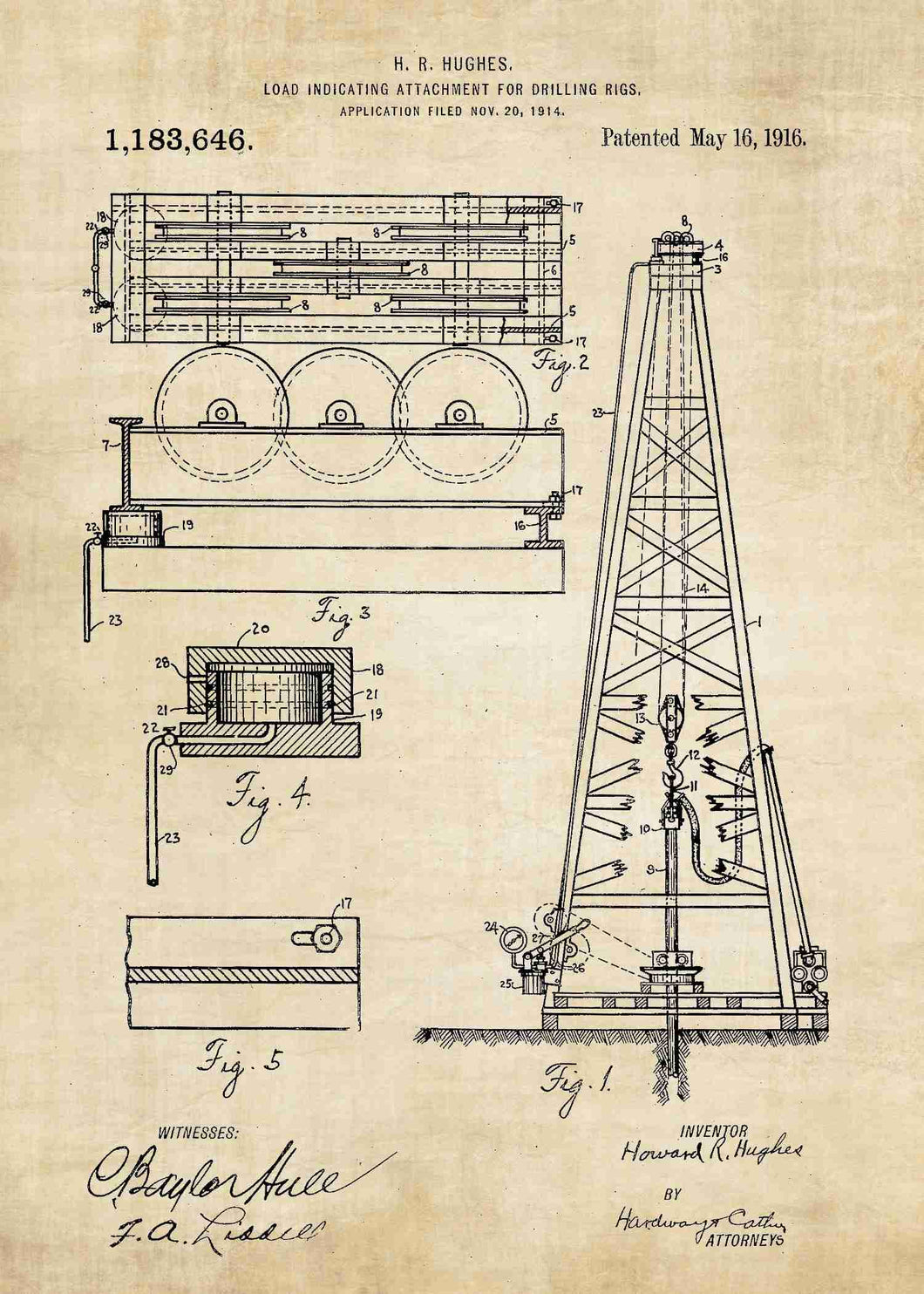 howard hughes oil drilling rig patent print, oil rig poster shown in the style vintage