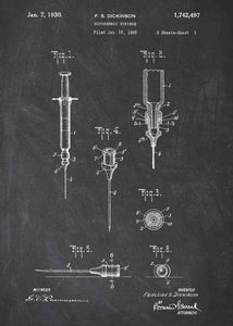 hypodermic syringe patent print, hypodermic needle poster ideal for any doctors office in the style chalkboard