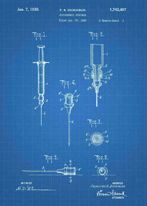 hypodermic syringe patent print, hypodermic needle poster ideal for any doctors office in the style blueprint