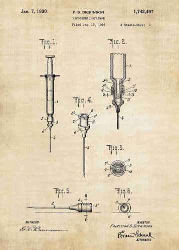 hypodermic syringe patent print, hypodermic needle poster ideal for any doctors office in the style vintage