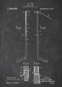 ice hockey stick patent print, ice hockey nfl poster shown in the style chalkboard