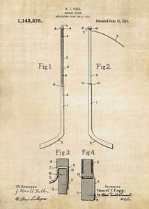 ice hockey stick patent print, ice hockey nfl poster shown in the style vintage