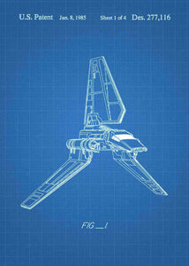 Original Imperial Shuttle patent from the first trilogy of the star wars series. This star wars poster is in the style blueprint