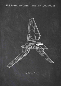 Original Imperial Shuttle patent from the first trilogy of the star wars series. This star wars poster is in the style chalkboard
