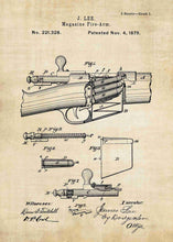 James Lee Detachable Magazine patent print, James Lee gun poster in the style vintage