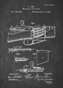 James Lee Detachable Magazine patent print, James Lee gun poster in the style chalkboard