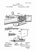 James Lee Detachable Magazine patent print, James Lee gun poster in the style white