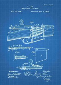 James Lee Detachable Magazine patent print, James Lee gun poster in the style blueprint