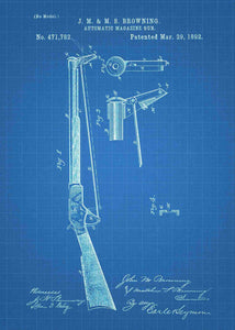 John Browning Automatic Magazine Gun patent print, john browning gun poster in the style blueprint