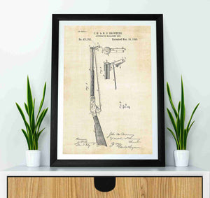 John Browning Automatic Magazine Gun patent print, john browning gun poster in the style vintage mocked up in a frame
