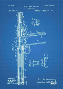 John Browning Retro Pistol Concept patent print, John Browning Pistol in the style blueprint