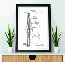 John Browning Retro Pistol Concept patent print, John Browning Pistol in the style white mocked up in a frame