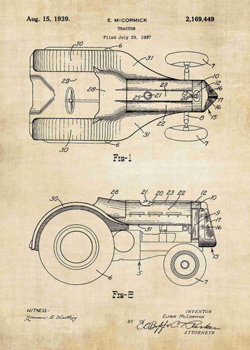 john deere tractor patent print, john deere tractor poster shown in the style vintage