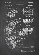 lego brick patent print, lego poster shown in the style chalkboard