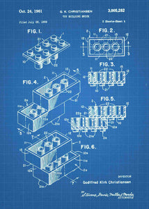 lego brick patent print, lego poster shown in the style blueprint