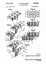 lego brick patent print, lego poster shown in the style white