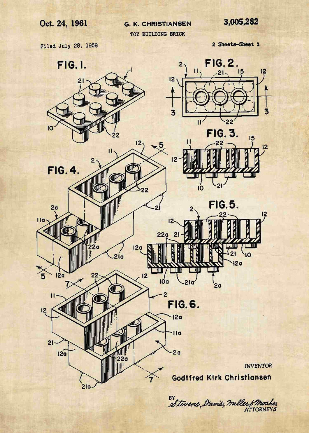 lego brick patent print, lego poster shown in the style vintage