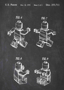 Lego charecter patent print, lego poster shown in the style chalkboard