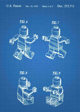 Lego charecter patent print, lego poster shown in the style blueprint