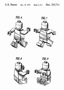Lego charecter patent print, lego poster shown in the style white