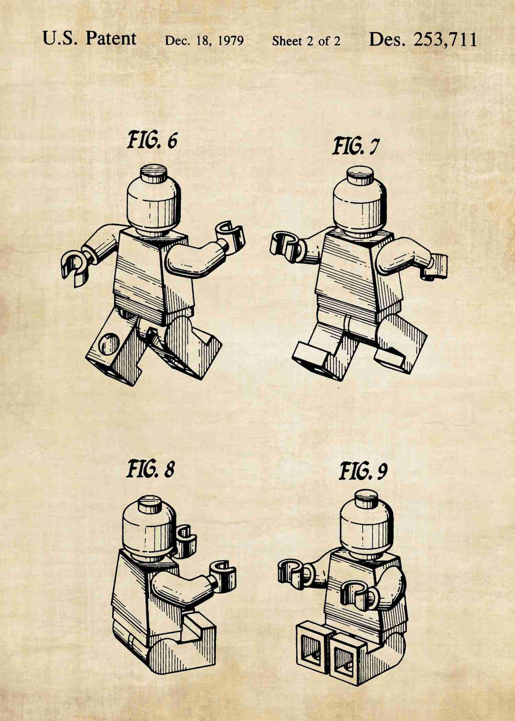 Lego charecter patent print, lego poster shown in the style vintage
