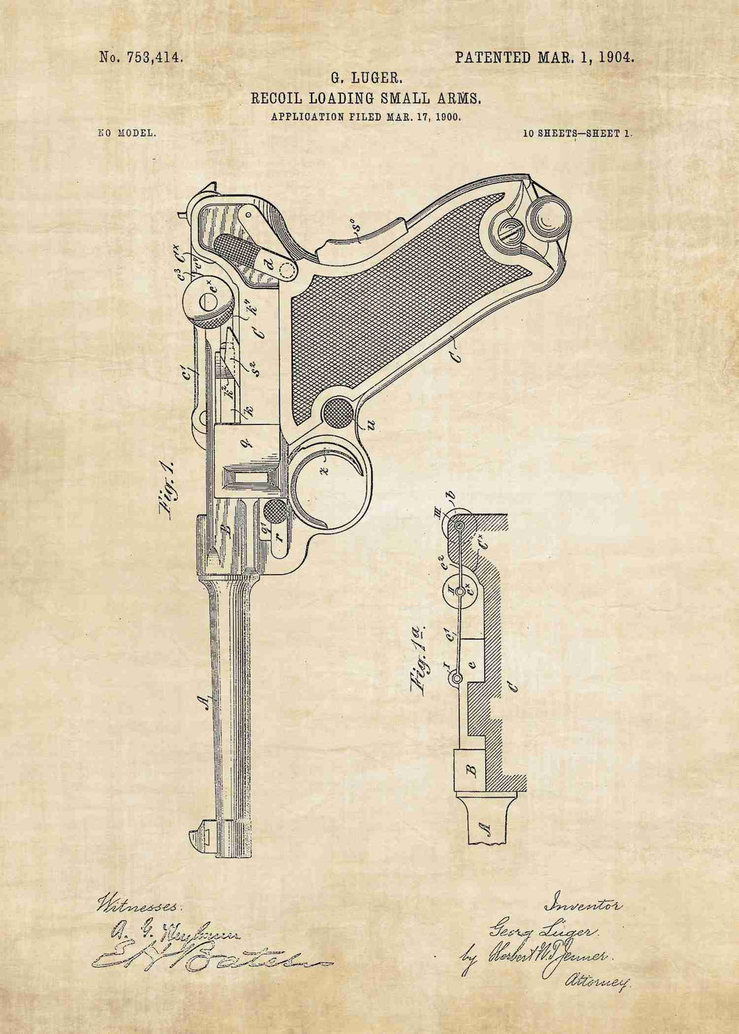 luger pistol patent print, luger poster in the style vintage
