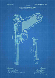 luger pistol patent print, luger poster in the style blueprint