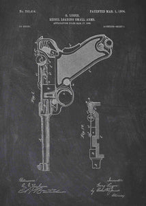 luger pistol patent print, luger poster in the style chalkboard