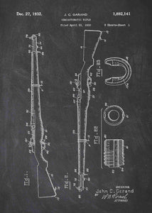 M1 Garand patent print, M1 Garand poster in the style chalkboard