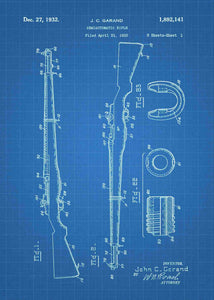 M1 Garand patent print, M1 Garand poster in the style blueprint
