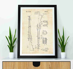 M1 Garand patent print, M1 Garand poster in the style vintage mocked up in a frame