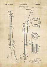 M1 Garand patent print, M1 Garand poster in the style vintage