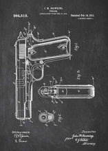 m1911 handgun patent print, m1911 handgun poster shown in the style chalkboard
