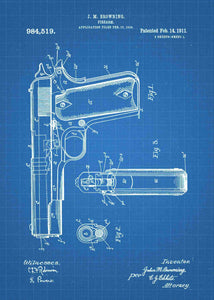 m1911 handgun patent print, m1911 handgun poster shown in the style blueprint