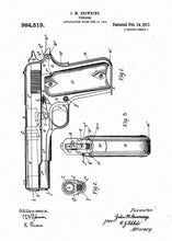 m1911 handgun patent print, m1911 handgun poster shown in the style white