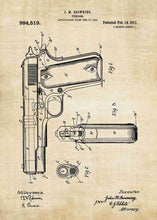 m1911 handgun patent print, m1911 handgun poster shown in the style vintage