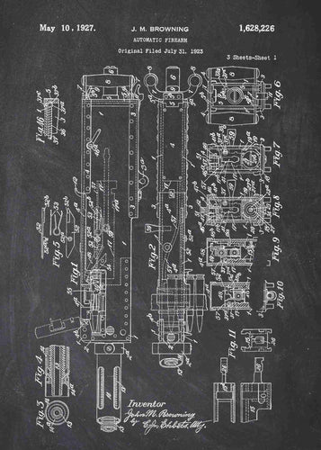 M2 Browning machine gun patent print, M2 Browning machine gun  poste rin the style chalkboard