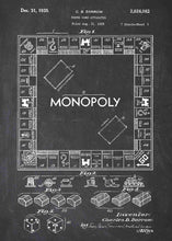 monopoly board patent print, monopoly poste rin the style chalkboard