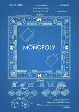 monopoly board patent print, monopoly poste rin the style blueprint