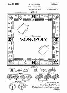 monopoly board patent print, monopoly poste rin the style white